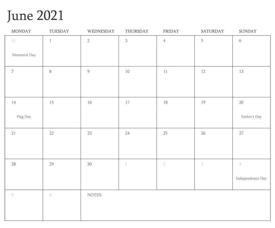 June 2021 Blank Monthly Calendar