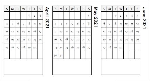 June 2021 Blank PDF Calendar