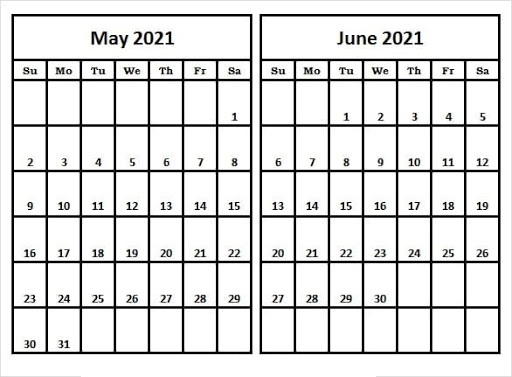 June 2021 Blank Printable Calendar