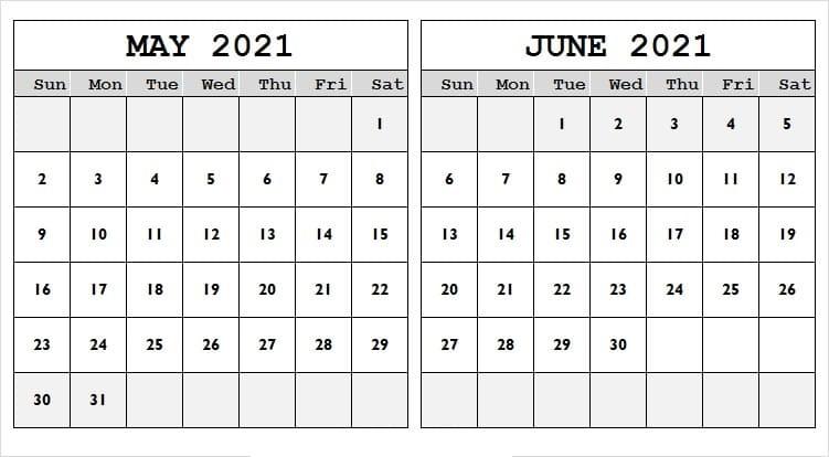 June 2021 Calendar Cute Template
