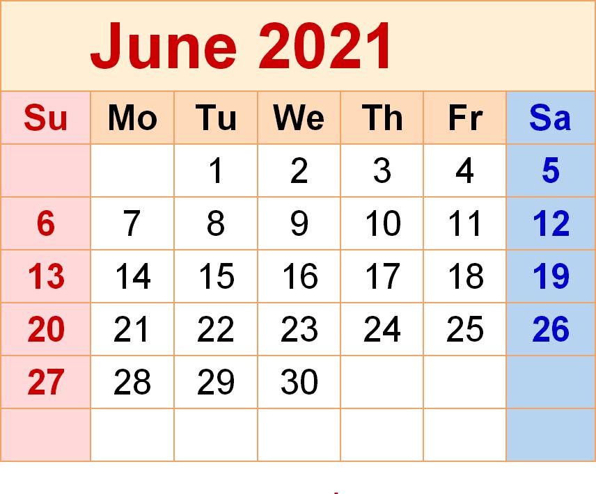 June 2021 Calendar PDF Template
