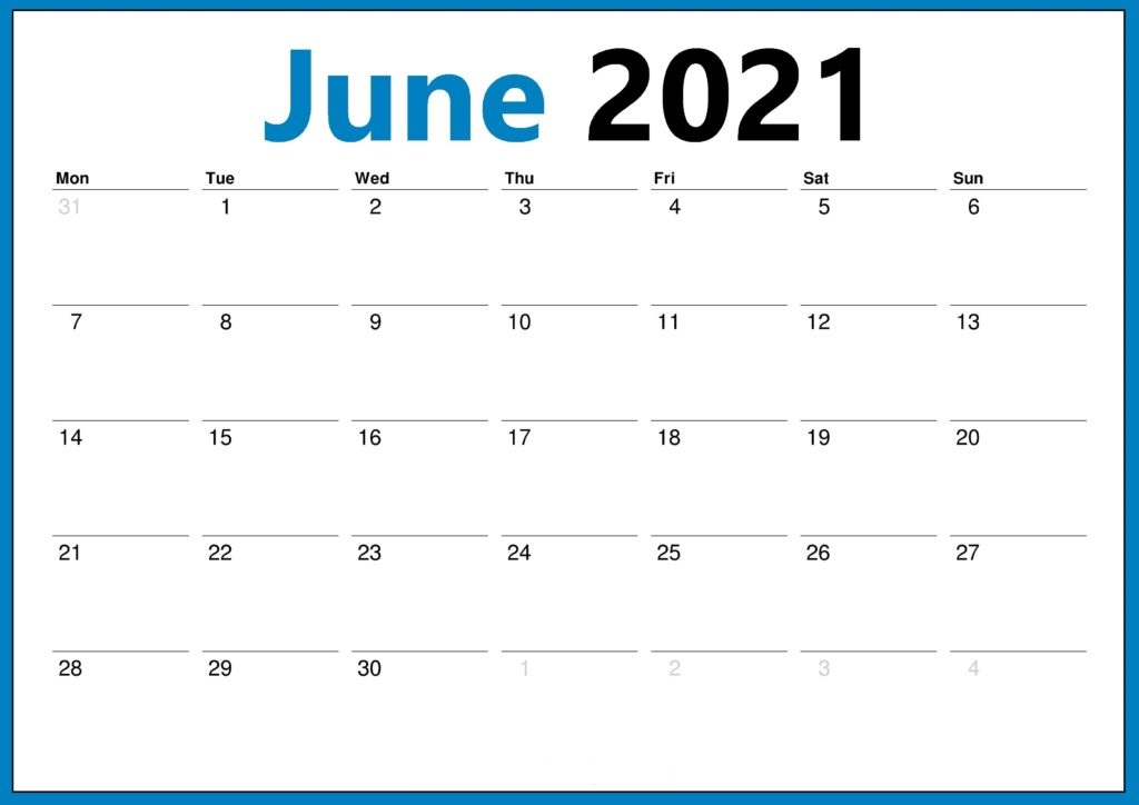 June 2021 Calendar PNG Template