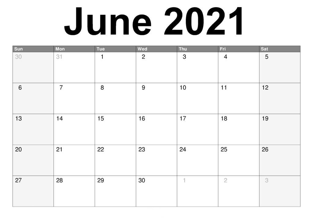 June 2021 Calendar Printable A4