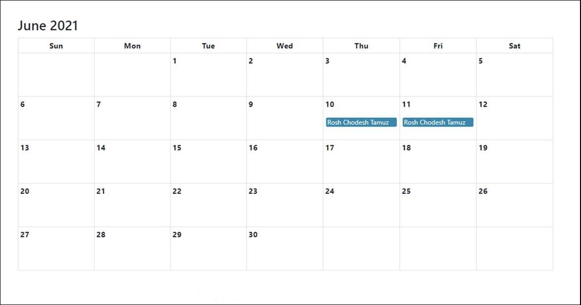 June 2021 Calendar Printable Cute