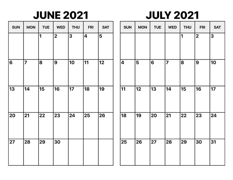 June 2021 Calendar Printable Landscape