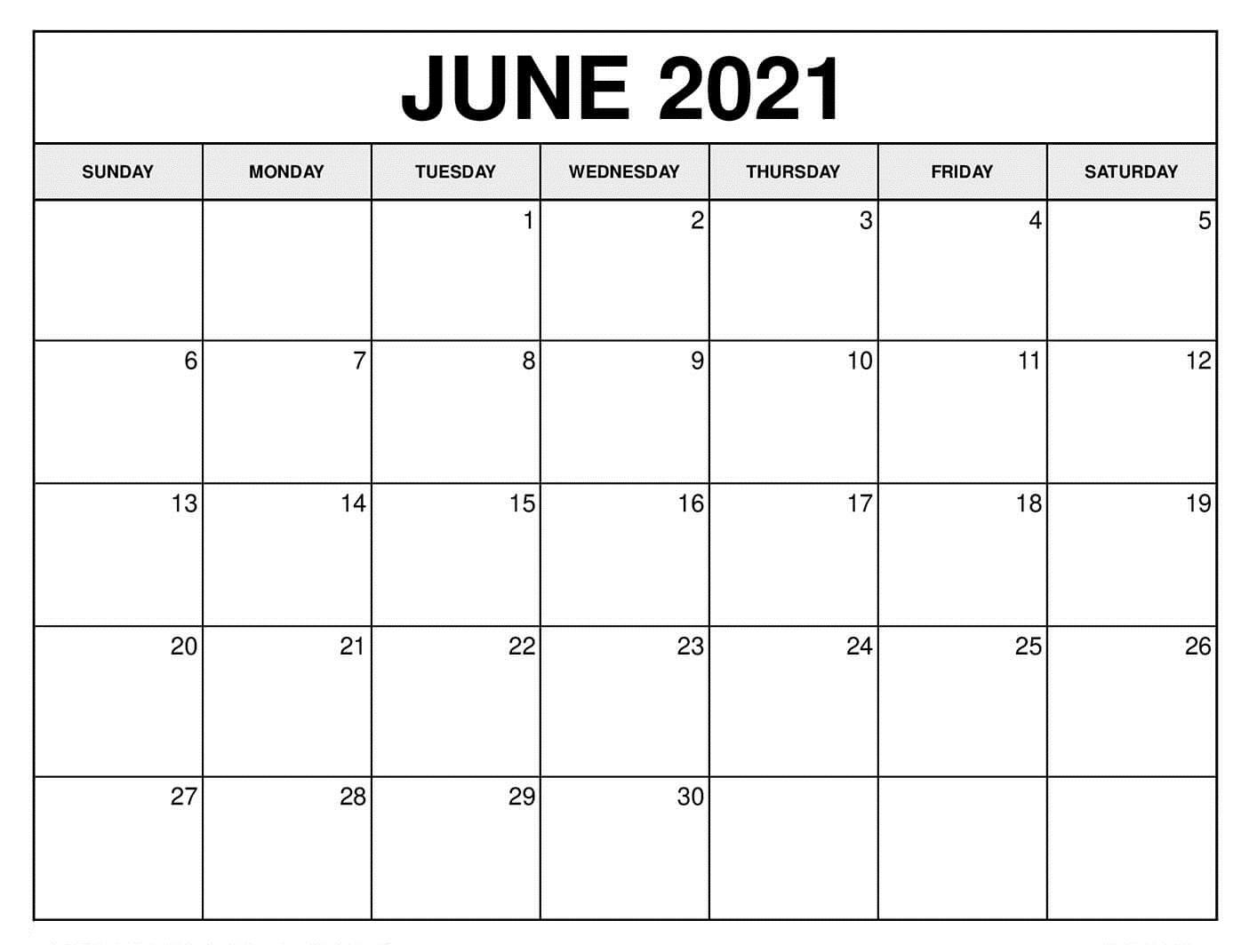June 2021 Calendar Printable Vertex
