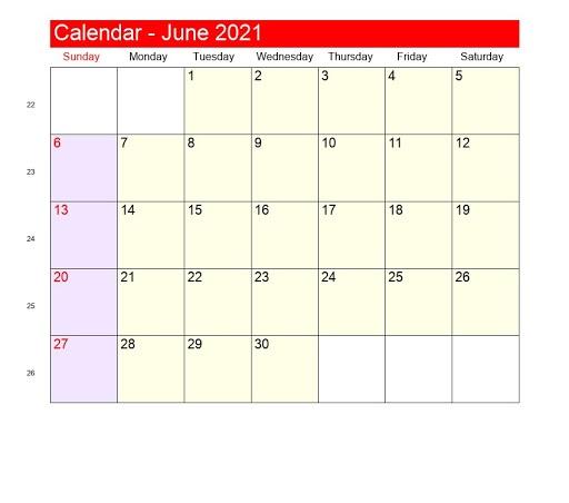 June 2021 Calendar Printable WaterProof
