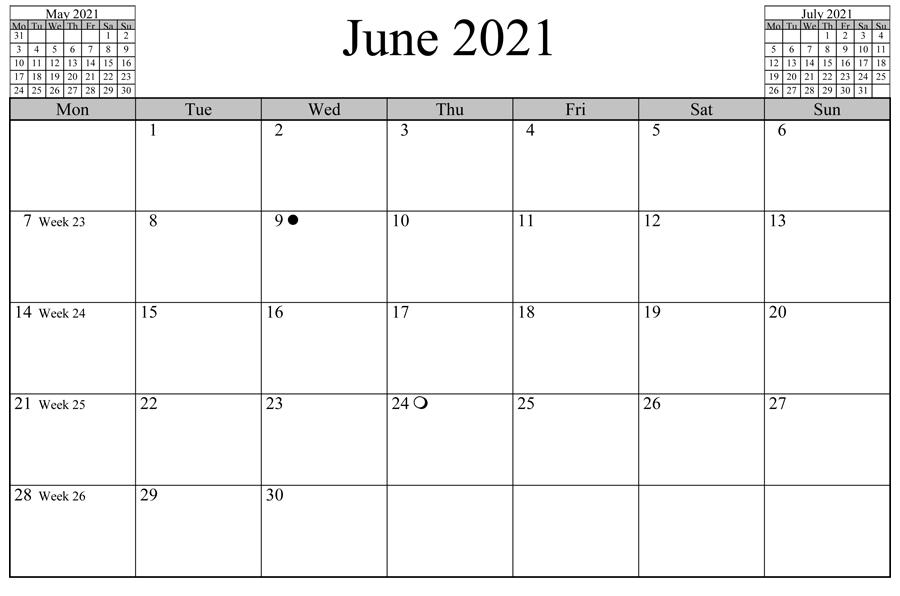 June 2021 Calendar Printable Wiki
