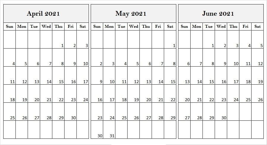 June 2021 Calendar Template Excel