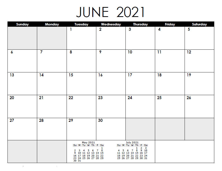 June 2021 Calendar Template PDF