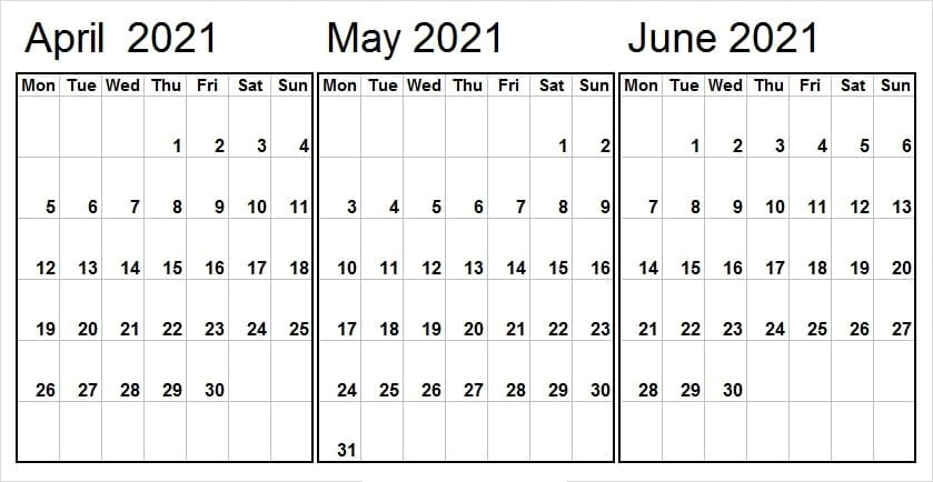 June 2021 Calendar Template Word