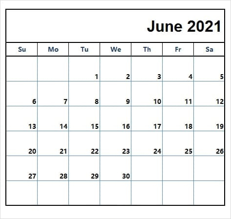 June 2021 Calendar With Cute Holidays