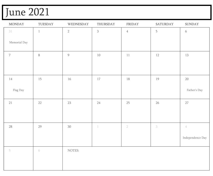 June 2021 Calendar With Holidays Australia