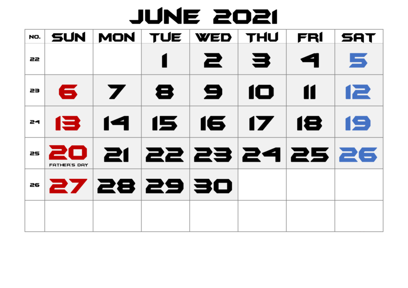 June 2021 Free Calendar Template