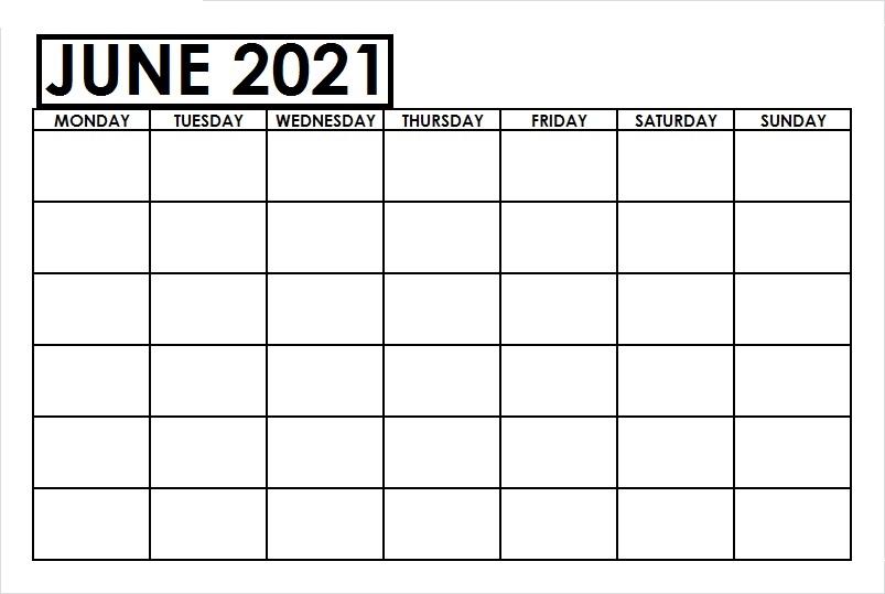 June 2021 Printable Calendar PDF