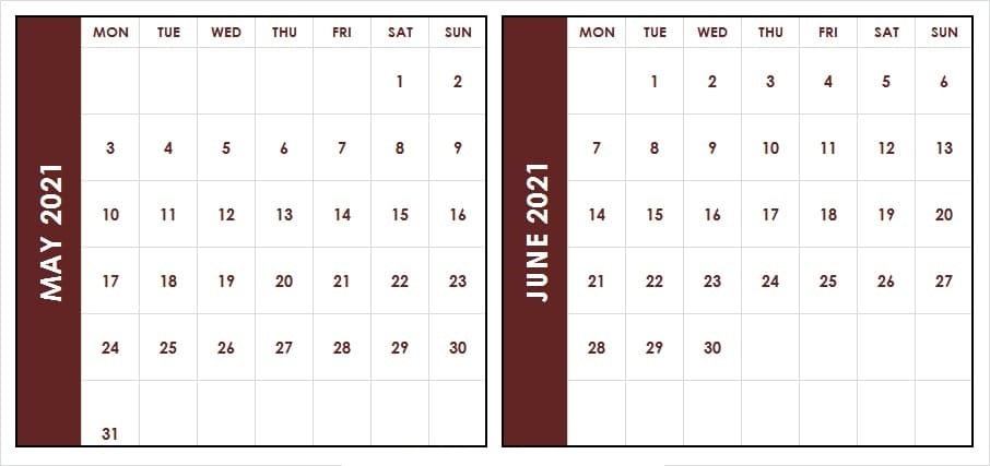 June 2021 Printable Calendar Template