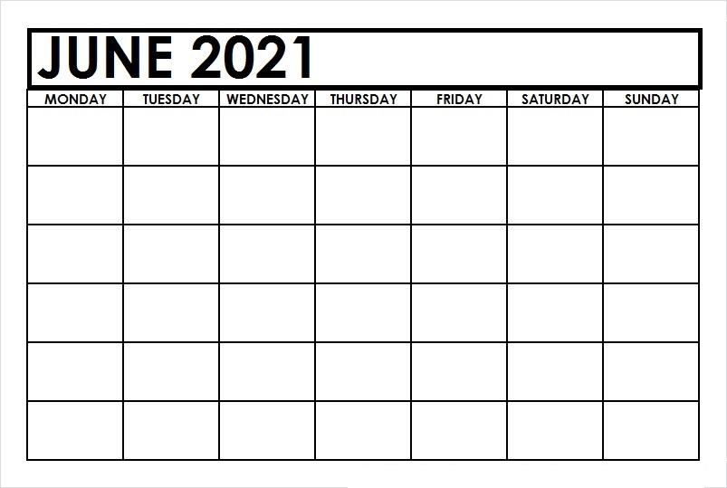 June Calendar 2021 Hindi