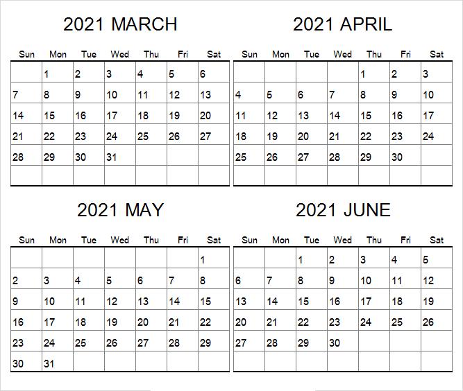 June Calendar 2021 India