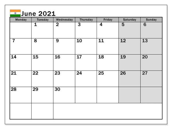 June Calendar 2021 Malayalam