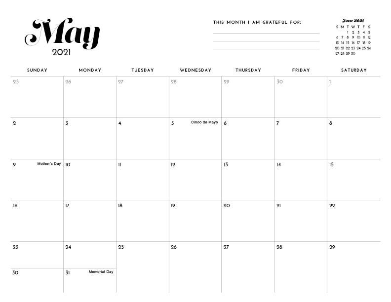 June Calendar 2021 Printable