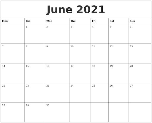 June Calendar 2021 With Holidays