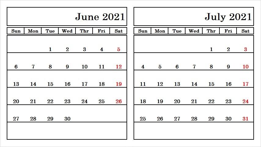 June & July 2021 Calendar Printable