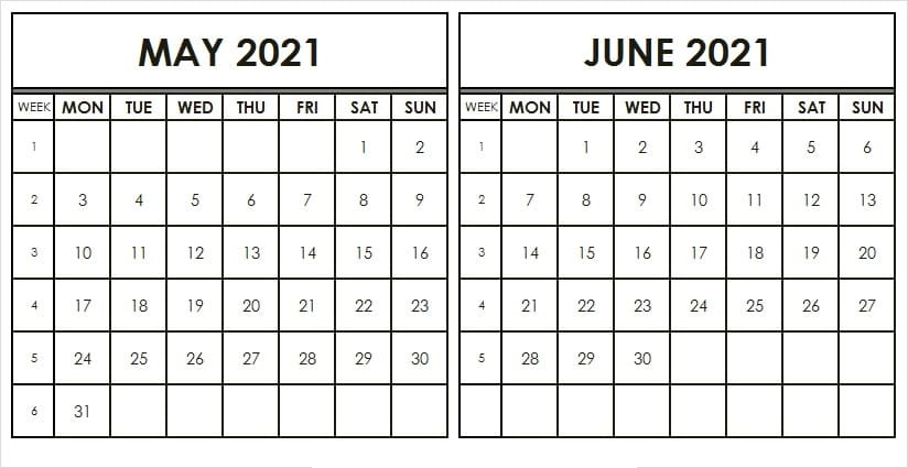 June & July 2021 Printable Calendar
