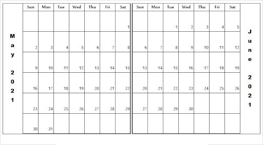 June July August 2021 Printable Calendar