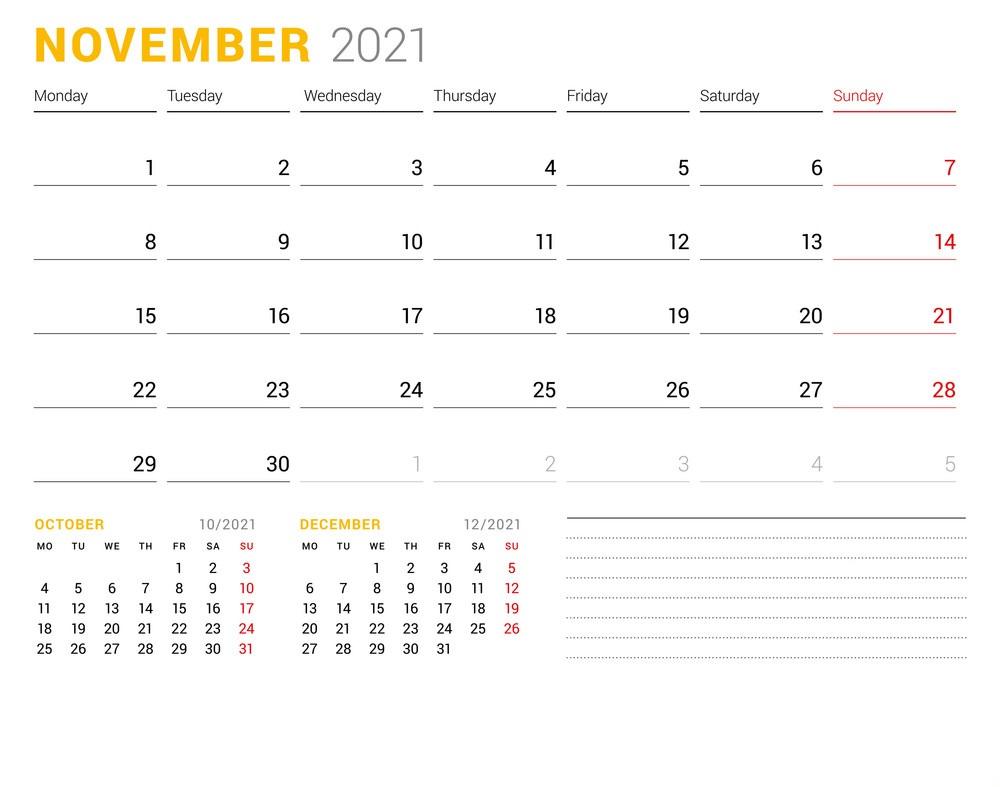 November 2021 Blank Calendar Monday Through Sunday