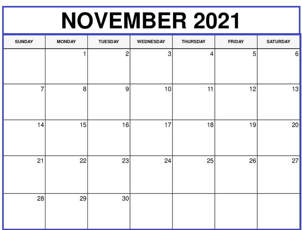 November 2021 Blank Calendar PNG Pages
