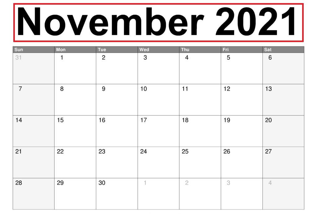 November 2021 Blank Calendar Sample Sheets