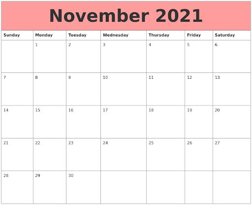 November 2021 Calendar Blank Landscape Layout