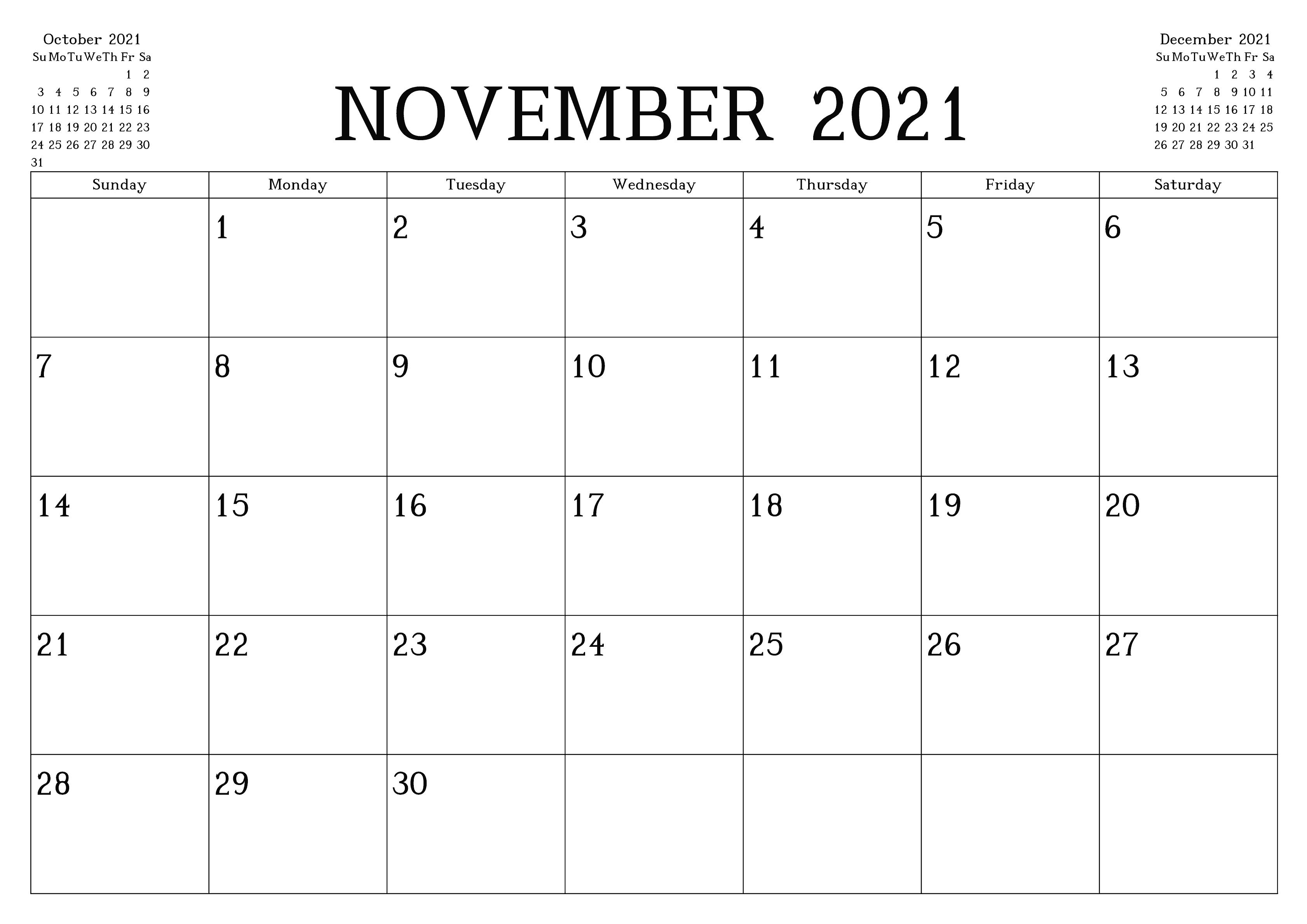November 2021 Calendar Blank Large Squares