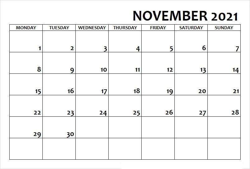 November 2021 Calendar Blank Monday Starts