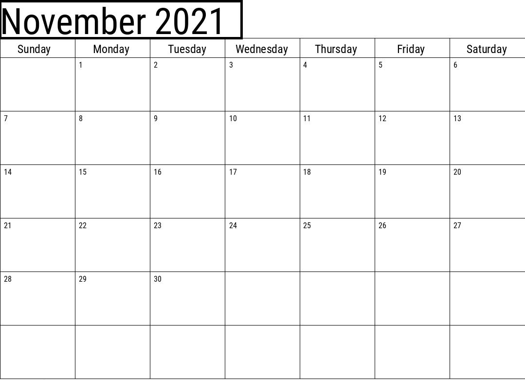 November 2021 Calendar Blank UK Vector to Edit