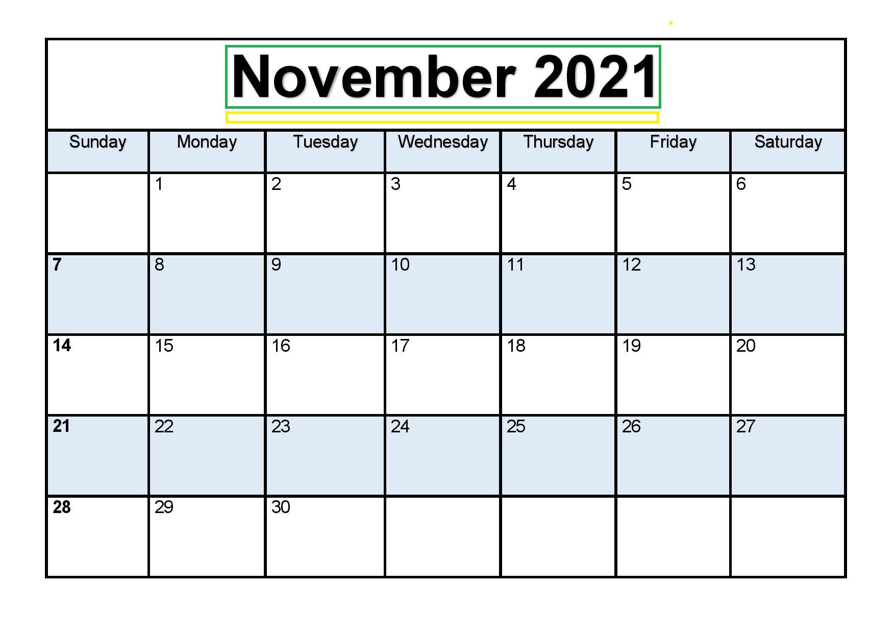 November 2021 Calendar Hindi