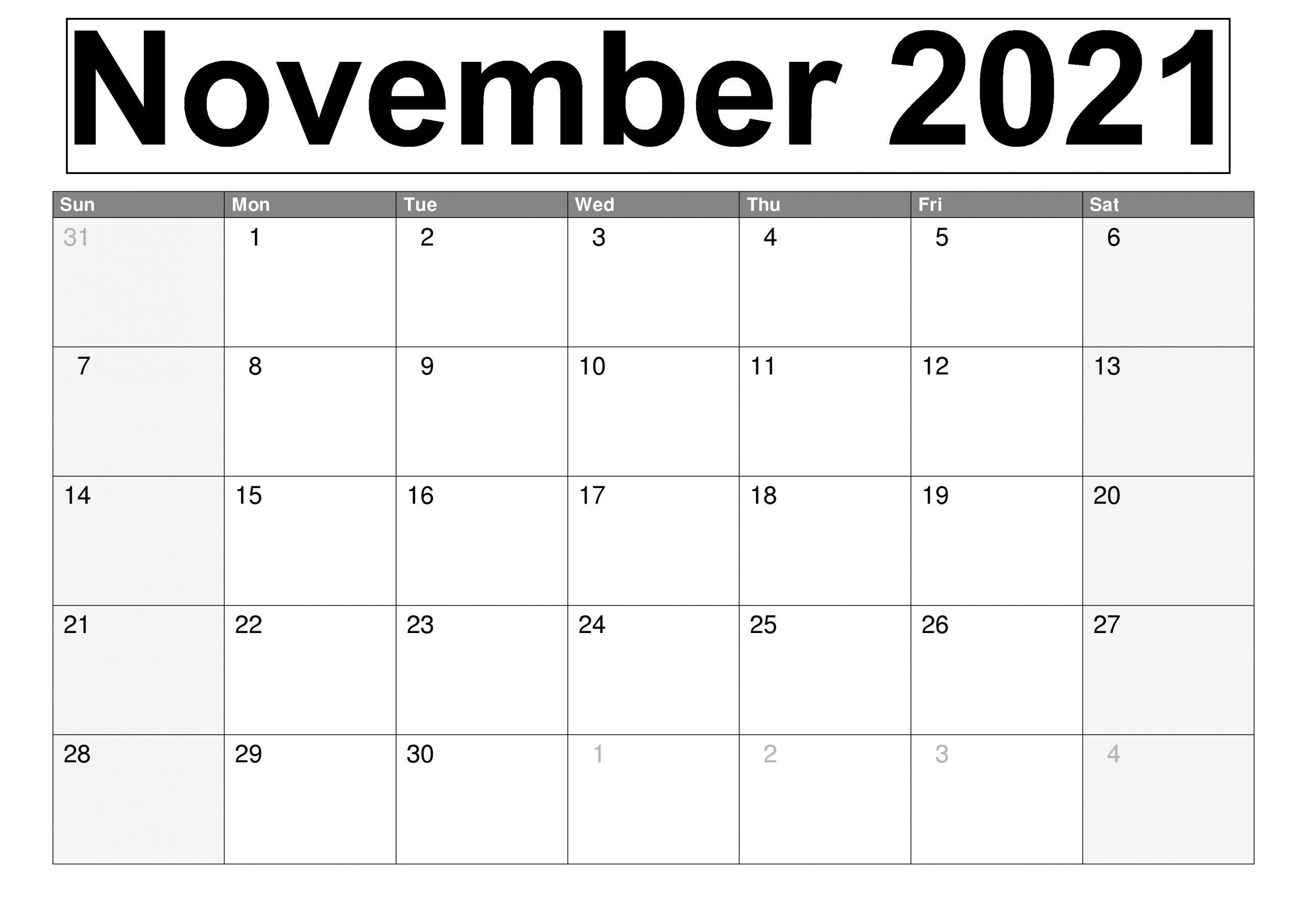 November 2021 Calendar Kalnirnay