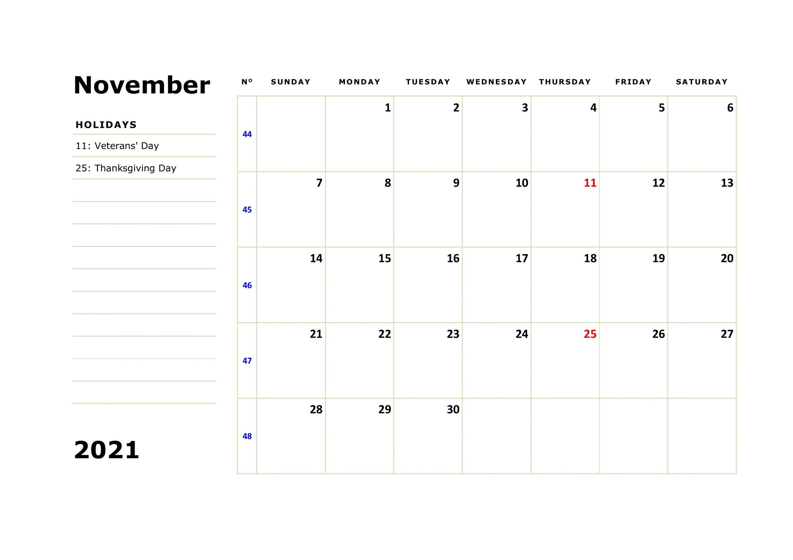 November 2021 Calendar Printable Blank Month