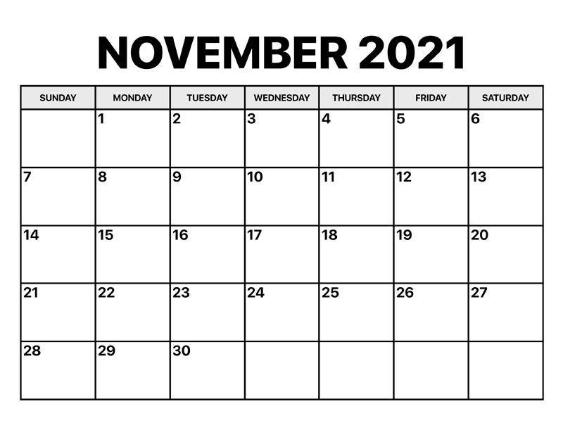 November 2021 Calendar Printable By Month
