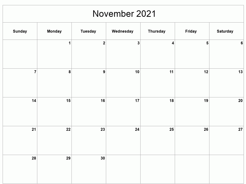 November 2021 Calendar Printable Daily Customizable