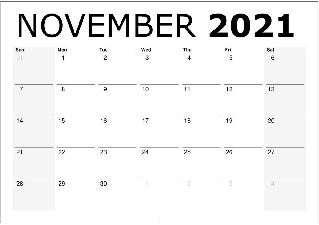 November 2021 Calendar Printable Free
