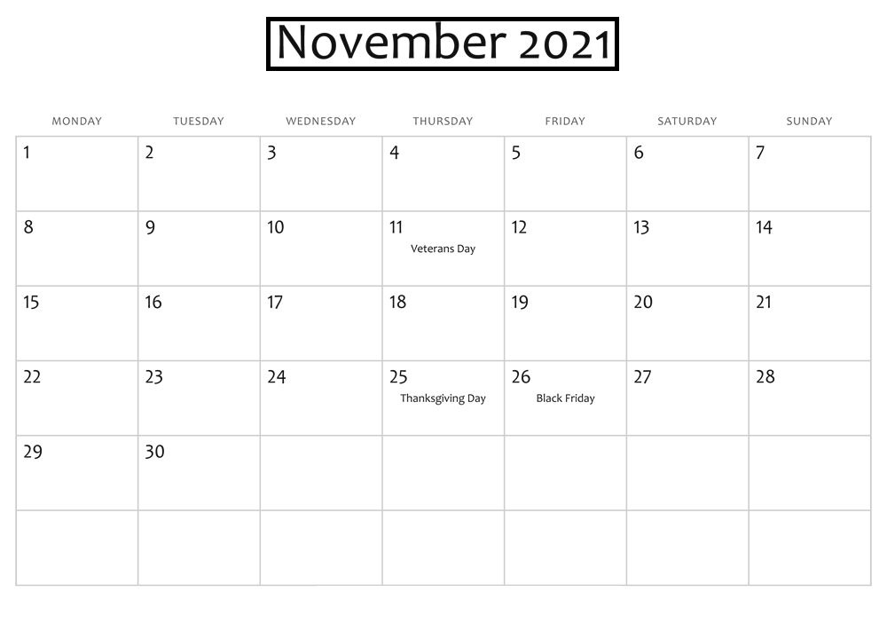 November 2021 Calendar Printable Google Generator