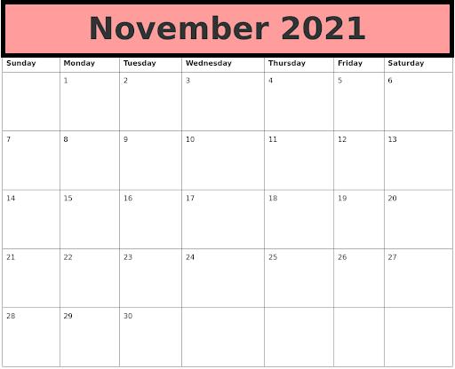 November 2021 Calendar Printable Monthly Online PDF