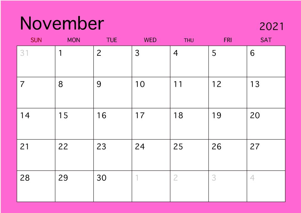 November 2021 Calendar Printable Refills for Planner