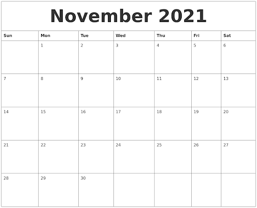 November 2021 Calendar Printable Summer Planner Template