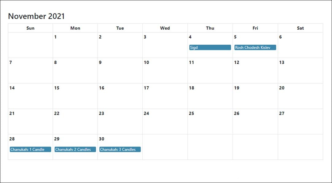 November 2021 Calendar Template Daily Excel Docs