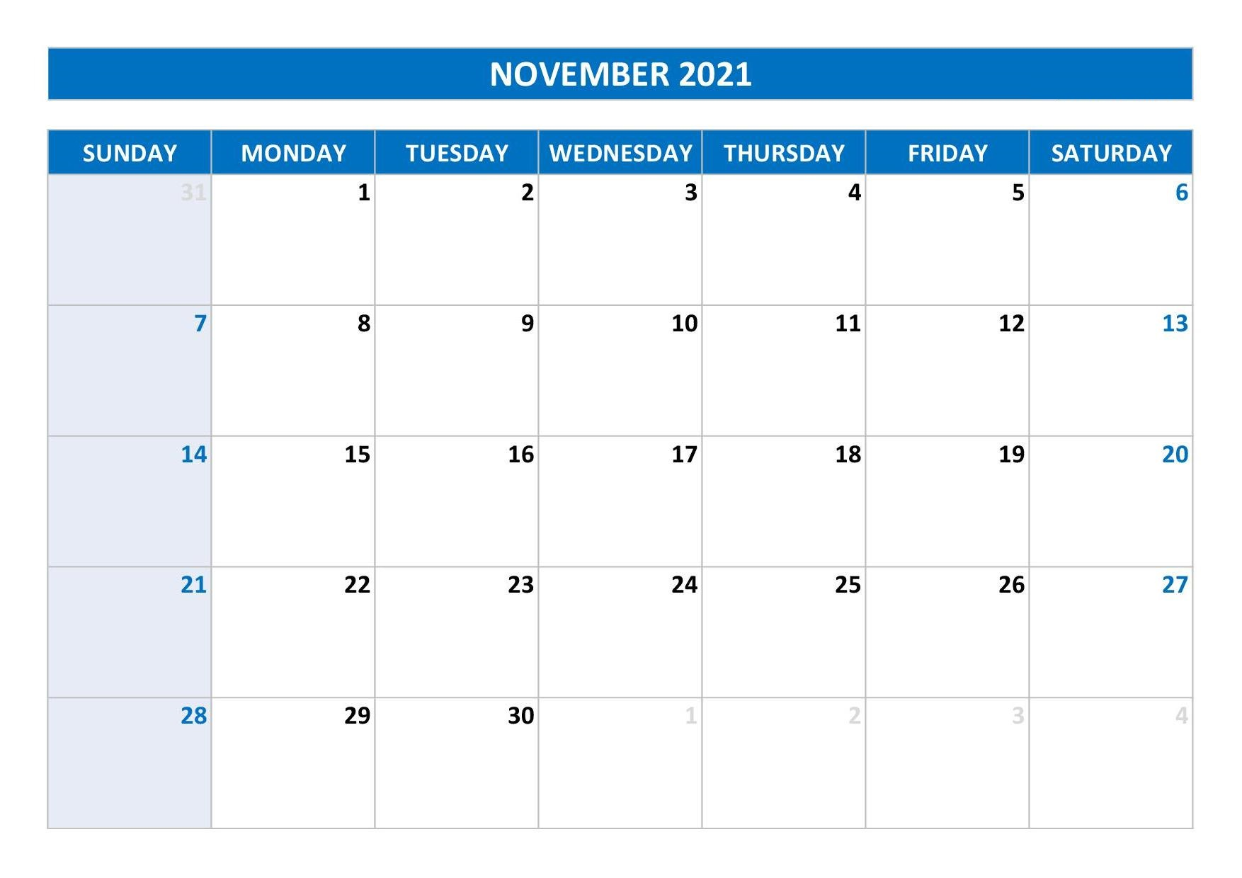 November 2021 Calendar Template Design for PPT