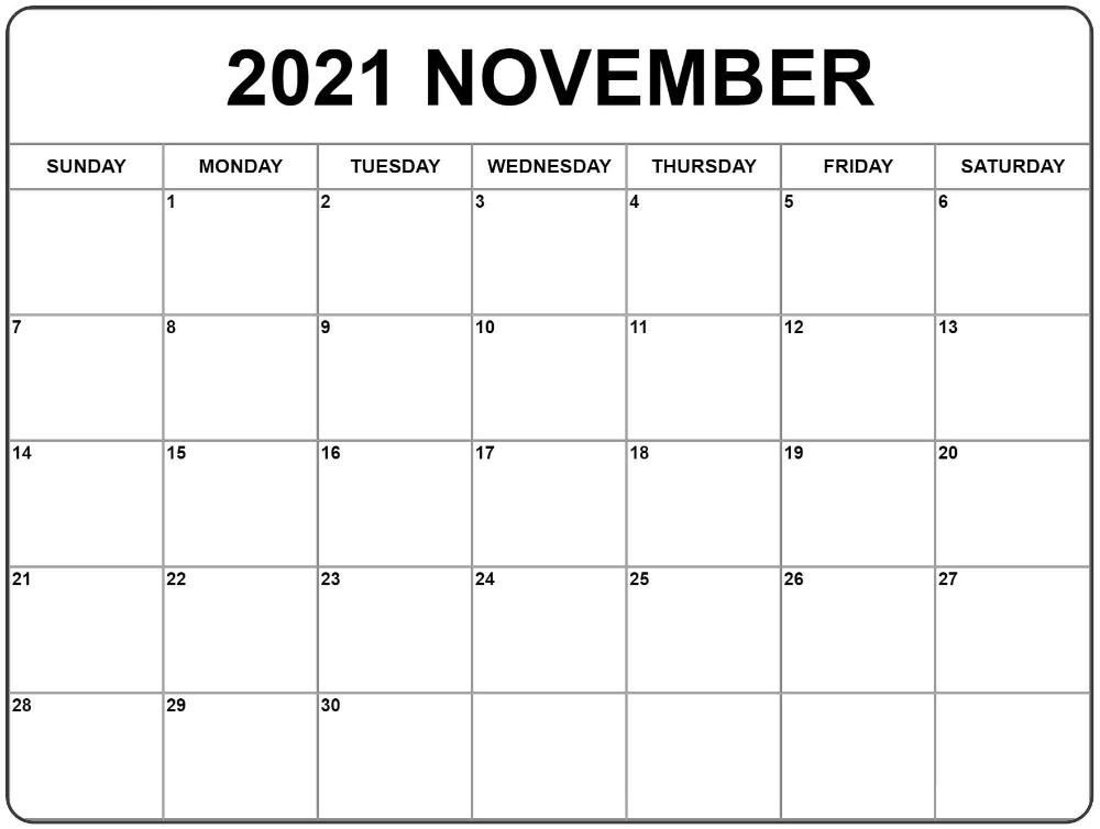 November 2021 Calendar Template Editable Free