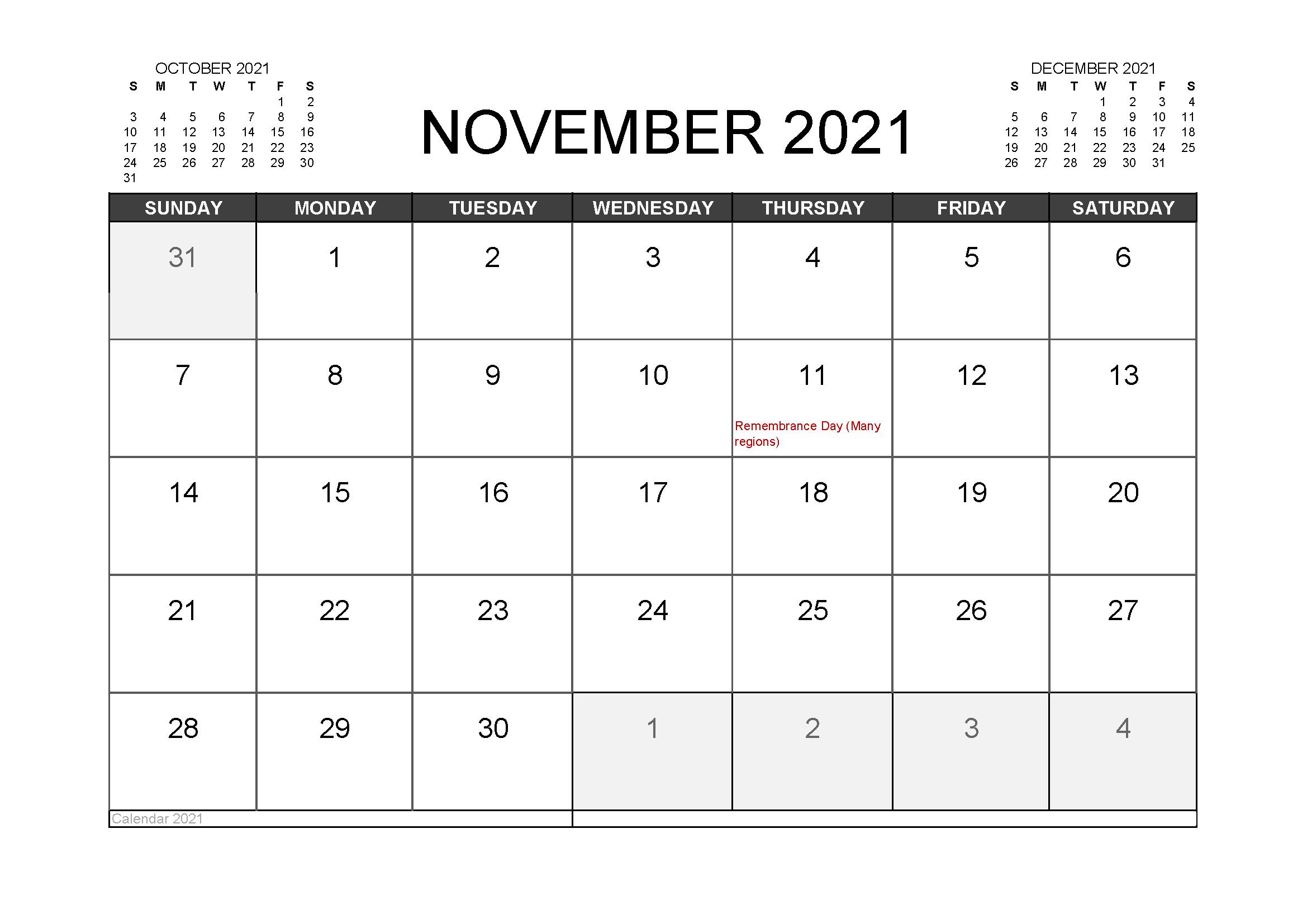 November 2021 Calendar Template Empty Evernote