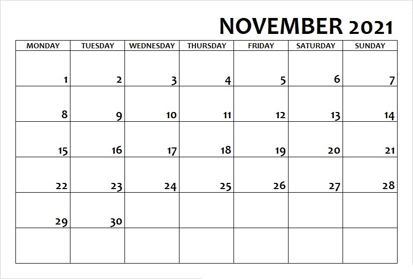 November 2021 Calendar Template For Excel Website